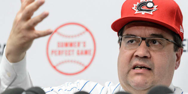 MONTREAL, QC - APRIL 01:  Montreal's Mayor Denis Coderre addresses the media prior to the MLB spring training game between the Toronto Blue Jays and the Boston Red Sox at Olympic Stadium on April 1, 2016 in Montreal, Quebec, Canada.  (Photo by Minas Panagiotakis/Getty Images)