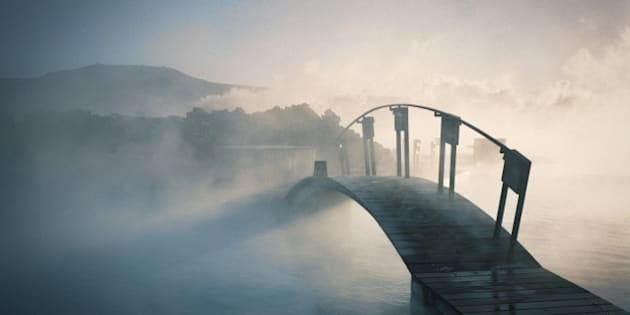 Bridge covered in fog in Iceland