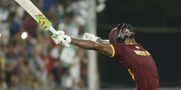 West Indies Carlos Brathwaite celebrates after they defeated in England in the final of the ICC World Twenty20 2016 cricket tournament at Eden Gardens in Kolkata, India, Sunday, April 3, 2016. (AP Photo/Saurabh Das)