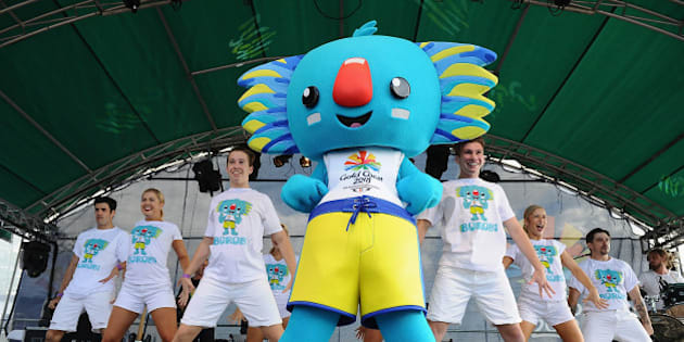 GOLD COAST, QUEENSLAND - APRIL 04:  GC2018 Mascot, Borobi on stage during the Official Reveal of GC2018 Mascot and Two Years to Go Celebrations at Burleigh Heads Beach on April 4, 2016 in Gold Coast, Australia.  (Photo by Matt Roberts/Getty Images)