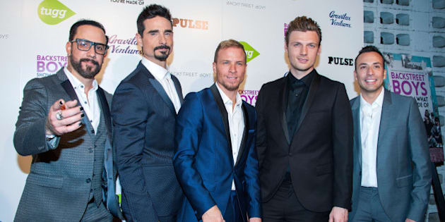HOLLYWOOD, CA - JANUARY 29:  (L-R)  AJ McLean, Kevin Richardson, Brian Littrell, Nick Carter and  Howie Dorough arrive at the Premiere Of Gravitas Ventures' 'Backstreet Boys: Show 'Em What You're Made Of' at ArcLight Cinemas Cinerama Dome on January 29, 2015 in Hollywood, California.  (Photo by Valerie Macon/Getty Images)