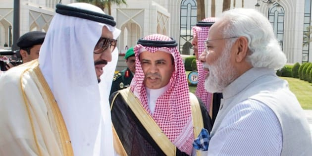 A handout picture provided by the Saudi Press Agency (SPA) on April 3, 2016 shows Saudi King Salman bin Abdulaziz (L) and India's Prime Minister Narendra Modi shaking hands during their meeting in Riyadh. 