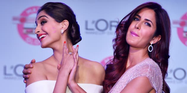 MUMBAI,INDIA APRIL 25: Katrina Kaif and Sonam Kapoor at the unveiling of LOreal Pariss new Cannes collection in Mumbai.(Photo by Milind Shelte/iIndia Today Group/Getty Images)