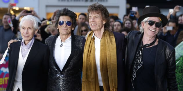 "Members of the Rolling Stones (L-R) Charlie Watts, Ronnie Wood, Mick Jagger and Keith Richards arrive for the ""Exhibitionism"" opening night gala at the Saatchi Gallery in London, Britain April 4, 2016. REUTERS/Luke MacGregor TPX IMAGES OF THE DAY"