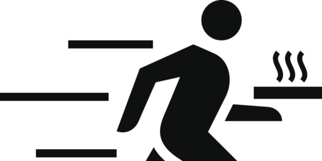 Black vector sign of fast running courier with carrying box or tray with hot pizza