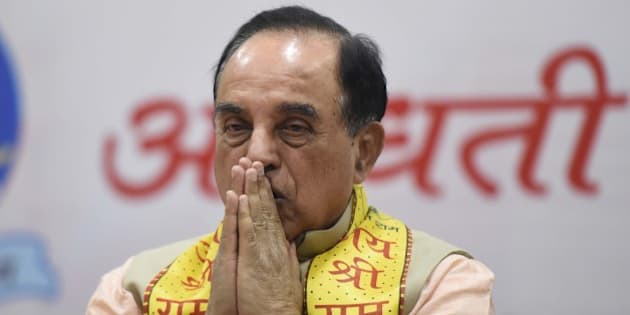NEW DELHI, INDIA - JANUARY 9: BJP leader Subramanian Swamy during a seminar on the construction of Ram Temple in Ayodhya where he asserted that nothing will be done forcibly or against the law, at Delhi University's North Campus, on January 9, 2016 in New Delhi, India. Swamy also claimed that former Prime Minister Rajiv Gandhi had supported the temple and asked the Congress to do the same. (Photo by Sonu Mehta/Hindustan Times via Getty Images)