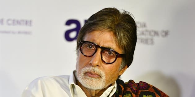 MUMBAI, INDIA  FEBRUARY 19: Amitabh Bachchan during the launch of Shatrughan Sinha's biography Anthing But Khamosh in Mumbai.(Photo by Milind Shelte/India Today Group/Getty Images)