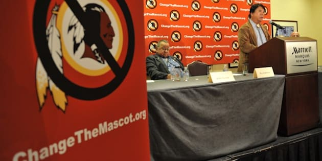 Ray Halbritter, Oneida Indian Nation Representative, speaks at a press conference after meeting with senior officials of the  National  Football League about changing the mascot name of the Washington Redskins October 30, 2013  in New York. The Oneida Nation's 'Change The Mascot' campaign is pressing the NFL to change the Washington team's  name.  AFP PHOTO/Stan HONDA        (Photo credit should read STAN HONDA/AFP/Getty Images)
