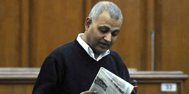 NEW DELHI, INDIA - DECEMBER 1: AAP MLA Somnath Bharti during the Delhi Assembly Winter Session at Delhi Vidhan Sabha on December 1, 2015 in New Delhi, India. Deputy Chief Minister Manish Sisodia presented the Delhi Janlokpal Bill 2015, saying it was an attempt at revamping and strengthening the anti-corruption legislation in the city. Delhi government on Monday tabled a landmark Janlokpal Bill to make the city a Corruption Free Zone. (Photo by Sonu Mehta/Hindustan Times via Getty Images)
