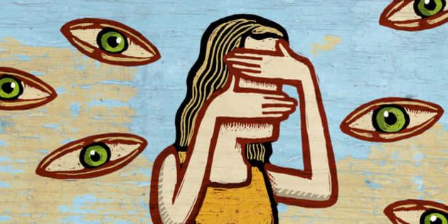 Woman Avoiding Prying Eyes