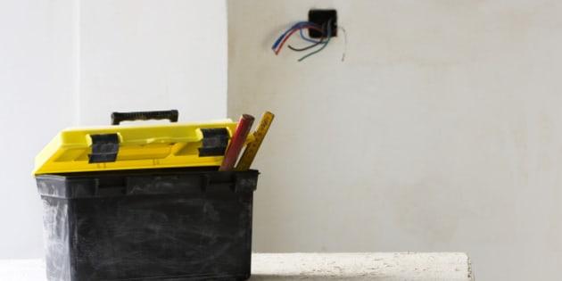 Plastic toolbox set on work table
