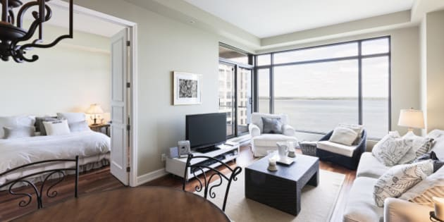 Condo living room and bedroom