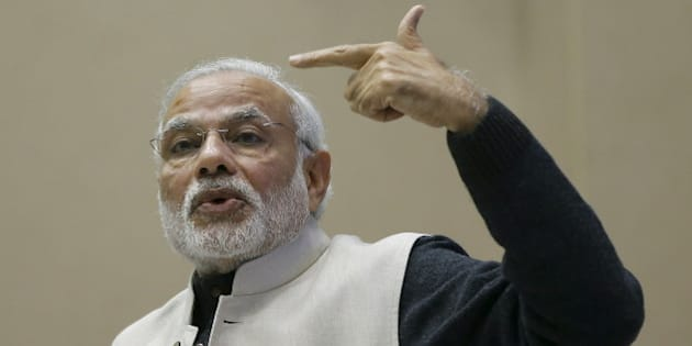 India's Prime Minister Narendra Modi gestures as he addresses a gathering during a conference of start-up businesses in New Delhi, India, January 16, 2016. Indian Prime Minister Modi launched a number of initiatives on Saturday to support the country's start-ups, including a 100 billion rupee ($1.5 billion) fund and a string of tax breaks for both the companies and their investors. REUTERS/Adnan Abidi