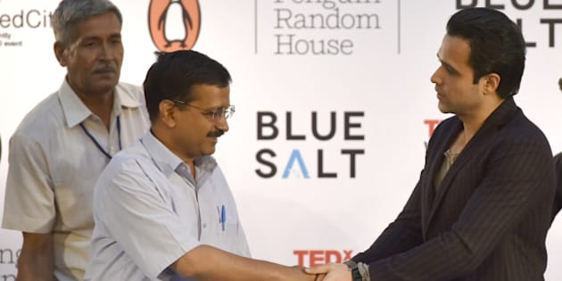 NEW DELHI, INDIA - APRIL 7: Delhi Chief Minister Arvind Kejriwal during the release of Emraan Hashmi's first book titled 'The Kiss Of Life: How A Superhero And My Son Defeated Cancer' at India Islamic Cultural Center on April 7, 2016 in New Delhi, India. (Photo by Arun Sharma/Hindustan Times via Getty Images)