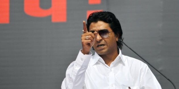 Raj Thackeray, leader of local political party Maharashtra Navnirman Sena (MNS), addresses his supporters protesting against the Aug. 11 violence in Mumbai, India, Tuesday, Aug. 21, 2012. Two people died and dozens were injured on Aug. 11 in clashes in India's financial capital between police and thousands of Muslims who were protesting the deaths of Muslims in rioting last month in the country's northeast. (AP Photo/Rafiq Maqbool)