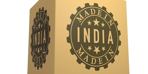 3D Render of Cardboard Box with Made in India