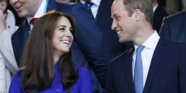 Rugby Union - England v Fiji - IRB Rugby World Cup 2015 Pool A - Twickenham Stadium, London, England  - 18/9/15 Britain's Prince William and Catherine, Duchess of Cambridge (L) watch on during the opening ceremony  Reuters / Russell Cheyne Livepic