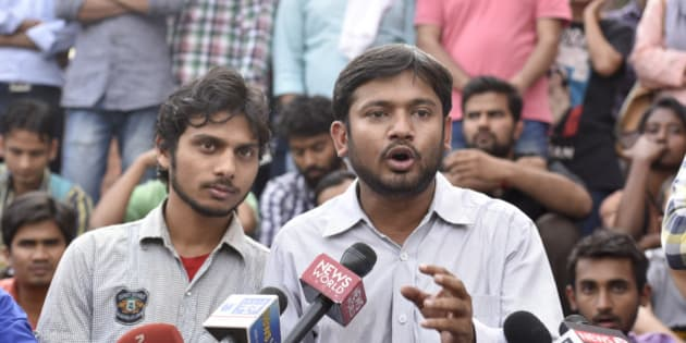 NEW DELHI, INDIA - MARCH 18: Students' Union President Kanhaiya Kumar addresses the media at the JNU campus on March 18, 2016 in New Delhi, India. (Photo by Saumya Khandelwal/Hindustan Times via Getty Images)