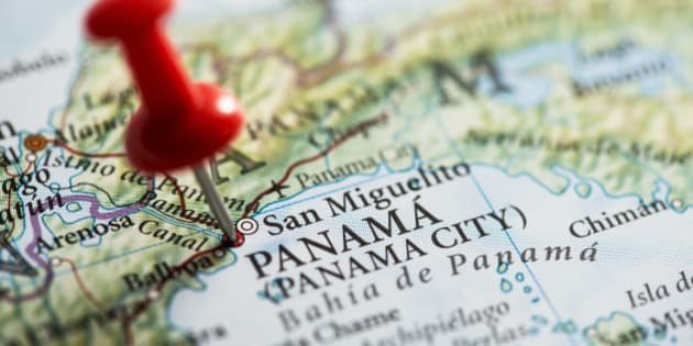 Close up shot of a map. San Miguelito, Panama pinned with a red pushpin. San Miguelito is a city and district of Panamá Province in Panama.