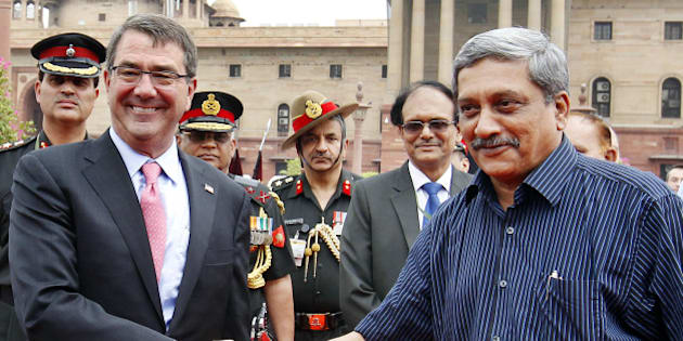 NEW DELHI, INDIA - JUNE 3: US Defense Secretary Ashton Carter shakes hand with Defence Minister Manohar Parikkar at South Block on June 3, 2015 in New Delhi, India. India and US is expected to sign a new 10-year defence framework, which was decided during the visit of US President Barack Obama in Delhi in January. (Photo by Ajay Aggarwal/ Hindustan Times via Getty Images)