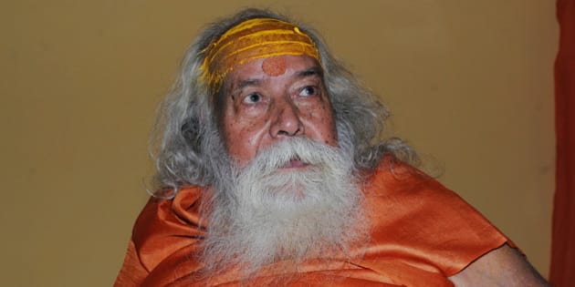 BHOPAL, INDIA - OCTOBER 30: (Editors Note: This is an exclusive shoot of Hindustan Times) Shankaracharya Swami Swaroopanand Saraswati during an interview with Hindustan Times, on October 30, 2015 in Bhopal, India. Sharpening his attack on Sai Baba, Shankaracharya Swami Swaroopanand Saraswati in Bhopal on Friday released a poster in which Lord Hanuman is shown driving out the revered spiritual master with a tree trunk. Swami Swaroopanand said that the trust formed on the name of Sai was responsible to spoil Hindu dharma in the country. He also said that Sai Baba was projected superior to lord Hanuman and other Hindu Gods by the trust, which was unacceptable. (Photo by Praveen Bajpai/Hindustan Times via Getty Images)