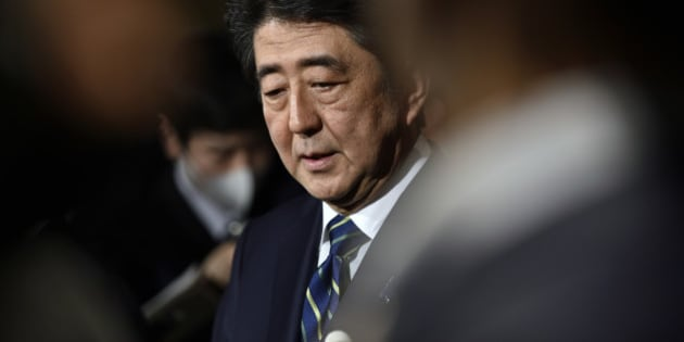 Japanese Prime Minister Shinzo Abe speaks to reporters condemning the terror attacks in Belgium, at Abe's official residence in Tokyo, Tuesday, March 22, 2016. Explosions rocked the Brussels airport and the subway system Tuesday, just days after the main suspect in the November Paris attacks was arrested in the city, police said.(Franck Robichon/Pool Photo via AP)