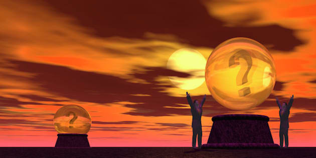 question mark crystal balls surrounded by two men with outstretched arms against a cloudy orange background