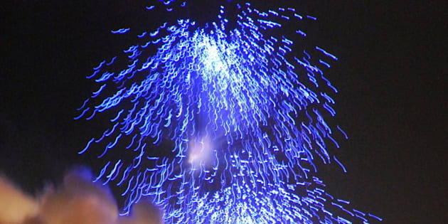 Sample fireworks display on the Pooram eve.