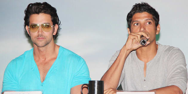 MUMBAI, INDIA - MAY 15: Hrithik Roshan and Farhan Akhtar during a press conference to unveil the first look of 'Zindagi Na Milegi Dobara' at Novotel, Mumbai on May 15, 2011. (Photo by Yogen Shah/India Today Group/Getty Images)