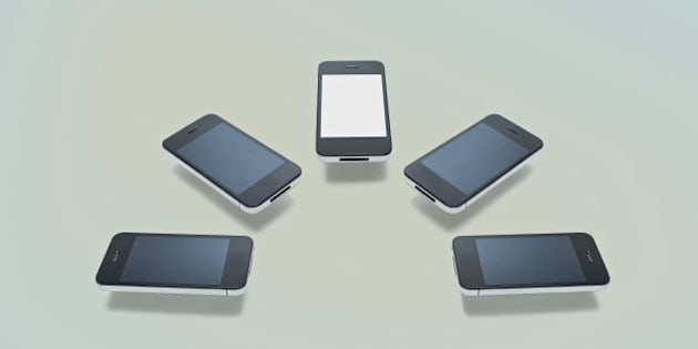 Group of phones levitating