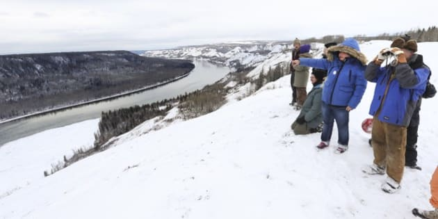 FORT ST. JOHN, BC - MAR. 4: Fort Saint John, ON - MARCH, 5  - Protestors look over the Site C hydroelectric dam project on the Peace River. 13 aboriginal women have gone missing from the 20,000 population city of Fort Saint John in the north-eastern corner of British Columbia.  There has been a severe lack of interest or resources into the investigations.        (Richard Lautens/Toronto Star via Getty Images)