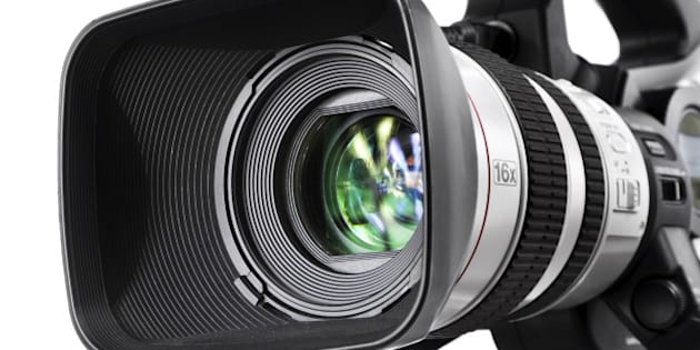 Close-up shot of a lens from high-end DV camcorder.