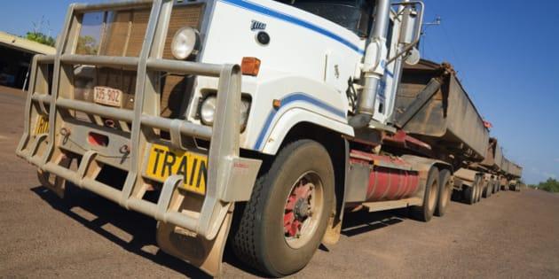 Australia, Northern Territory, Darwin. Highway road train.