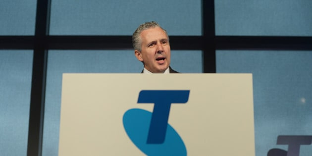 Andrew Penn, chief executive officer of Telstra Corp., speaks during a news conference in Melbourne, Australia, on Thursday, Feb. 18, 2016. Telstra, Australia's biggest phone company, reaffirmed that the company is on track to meet full-year forecast. Photographer: Carla Gottgens/Bloomberg via Getty Images
