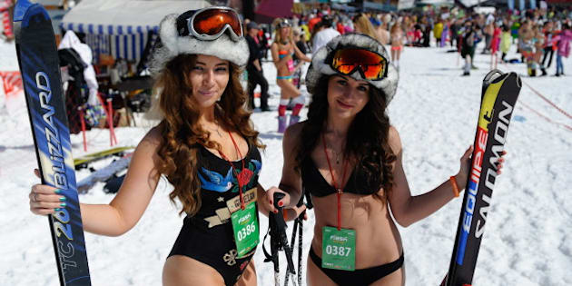 KEMEROVO REGION, RUSSIA. APRIL 16, 2016. Skiers and snowboarders in bathing suits take part in a mass downhill run at the Sheregesh ski resort as part of Grelka Fest-2016. Kiril Kukhmar/TASS (Photo by Kirill Kukhmar\TASS via Getty Images)