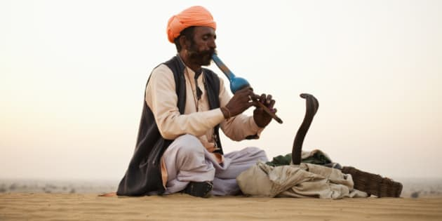 Indian Snake Charmer playing music for Cobra in Desert