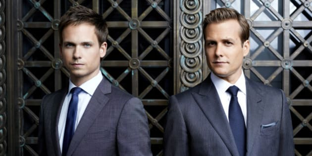 SUITS -- Season: 2 -- Pictured: (l-r) Patrick J. Adams as Mike Ross, Gabriel Macht as Harvey Specter -- (Photo by: Robert Ascroft/USA Network/NBCU Photo Bank via Getty Images)