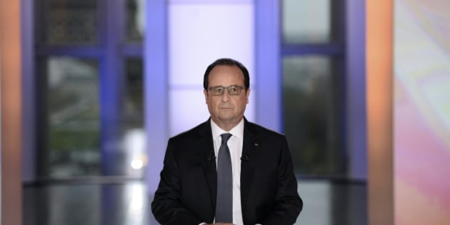 "French President Francois Hollande is seen before appearing on France 2 television prime time live programme ""Dialogues Citoyens"" (Citizen's Dialogue) for an interview at the Musee de l'Homme in Paris, France, April 14, 2016.   REUTERS/Stephane de Sakutin/Pool"