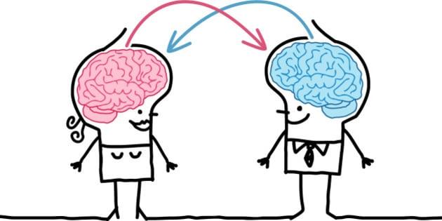 vector hand drawn cartoon characters - big brain couple and exchange
