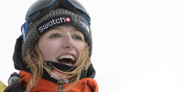 A picture taken on April 2, 2016 shows World champion Switzerland's Estelle Balet celebrating after she won the women's snowboard event at the Bec des Rosses during the Verbier Xtreme Freeride World Tour final above the Swiss Alps resort of Verbier. 