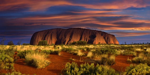 View at Ayers Rock at sunset, Northern Territory, Australia