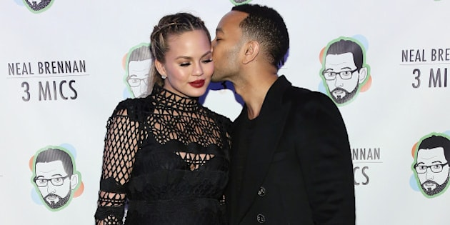 NEW YORK, NY - MARCH 03:  Chrissy Teigen and John Legend attend 'Neal Brennan 3 Mics' Opening Night at the Lynn Redgrave Theatre on March 3, 2016 in New York City.  (Photo by Monica Schipper/Getty Images)