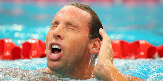 SYDNEY, AUSTRALIA - APRIL 05:  Grant Hackett of Qld leaves the pool following the Men's 200m Freestyle Final during the day three of the Australian National Swimming Championships at Sydney Olympic Park  Aquatic Centre on April 5, 2015 in Sydney, Australia.  (Photo by Brendon Thorne/Getty Images)