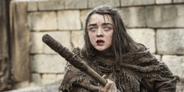 """This image released by HBO shows Maisie Williams as Arya Stark in a scene from, """"Game of Thrones,"""" premiering its sixth season on Sunday at 9 p.m. (Macall B. Polay/HBO via AP)"""