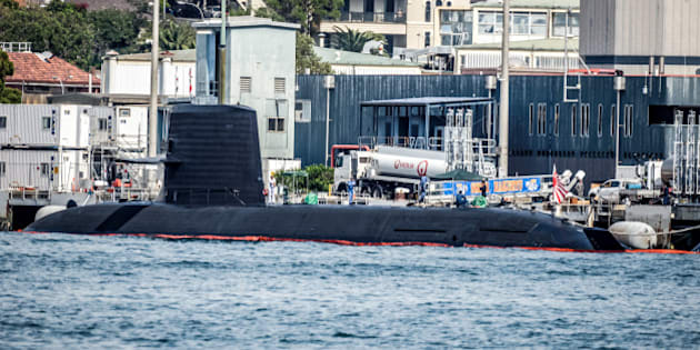 GARDEN ISLAND, SYDNEY, NSW, AUSTRALIA - 2016/04/16: The Japanese Soryu-class submarine JS Hakuryu and two destroyers are training with Australian military forces and impress with their bid to win the contract to replacement Australia's Collins Class fleet. The historic arrival is the first time a Japanese submarine has entered Sydney Harbour since 1942, when three Japanese midget submarines slipped into the harbour and one attacked an Australian navy vessel, killing 21 sailors. (Photo by Hugh Peterswald/Pacific Press/LightRocket via Getty Images)