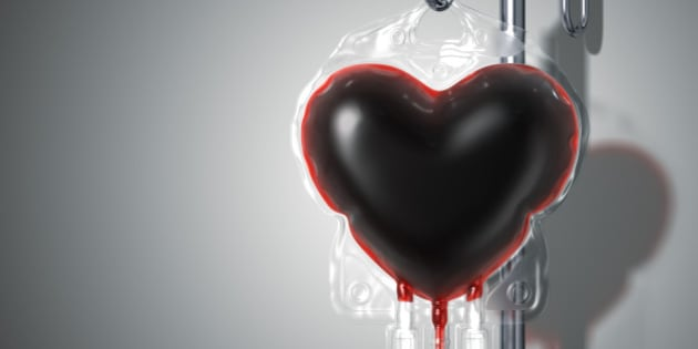 A blood bag looks like heart on the stand. Include a clipping path. 3D render.