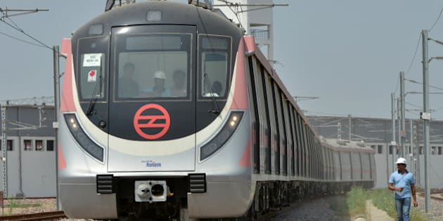 NEW DELHI, INDIA APRIL 06: An view of Delhi Metro's new Hyundai Rotem train ready for operations in Mukundpur depot, in New Delhi.(Photo by K Asif/India Today Group/Getty Images)