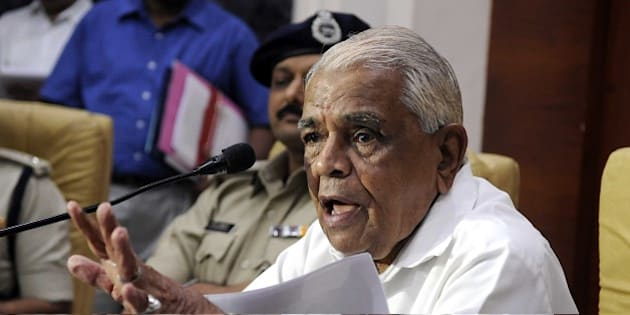 INDORE, INDIA - JUNE 27: Madhya Pradesh Home Minister Babulal Gaur addressing a press conference at police control room over the security on June 27, 2015 in Indore, India. (Photo by Shankar Mourya/Hindustan Times via Getty Images)