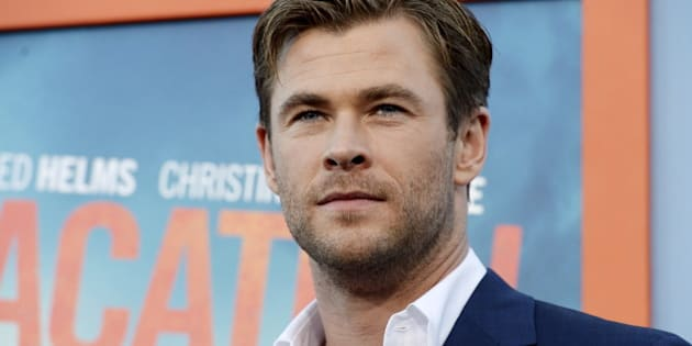 """Cast member Chris Hemsworth poses during the premiere of the film """"Vacation"""" at the Regency Village Theatre in the Westwood section of Los Angeles, California July 27, 2015. REUTERS/Kevork Djansezian"""