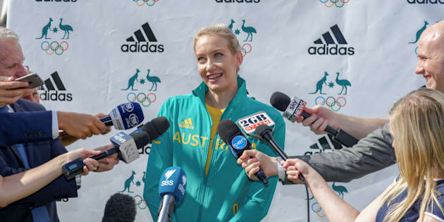 BONDI, SYDNEY, AUSTRALIA - 2016/04/19: Australian Olympic Swimmer Madison Wilson speaks to the media at a media launch to unveil the official uniforms to be worn by the Australian Olympic team during the 2016 Games. (Photo by Hugh Peterswald/Pacific Press/LightRocket via Getty Images)